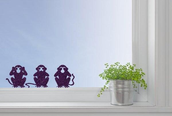 2 wise monkeys window decor