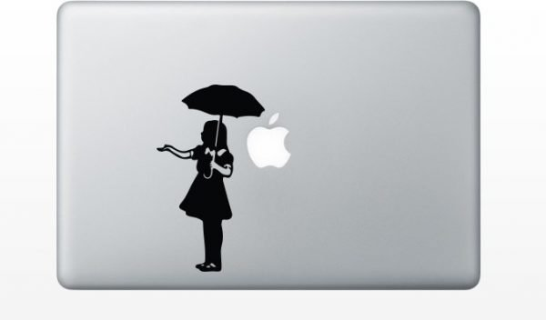 Banksy Umbrella Girl macbook decal