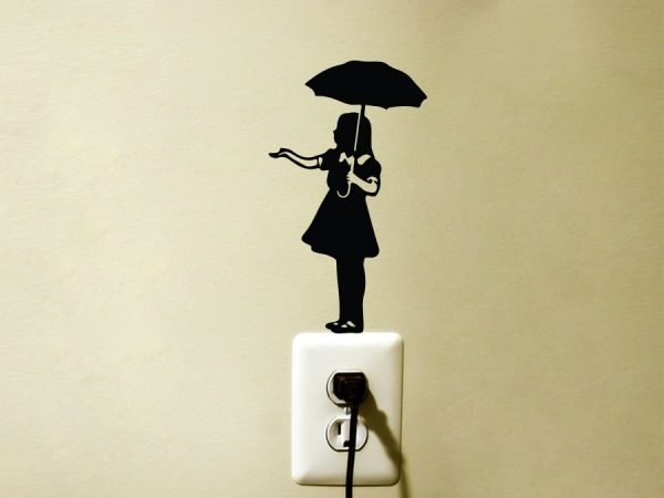 Banksy Umbrella Girl wall sticker