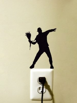 Banksy flower thrower wall sticker