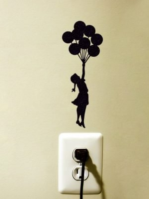 Banksy girl flying with balloons wall sticker