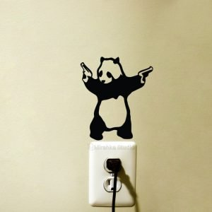 Banksy panda with guns wall sticker