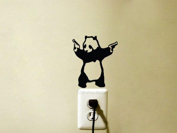 Banksy panda with guns wall sticker