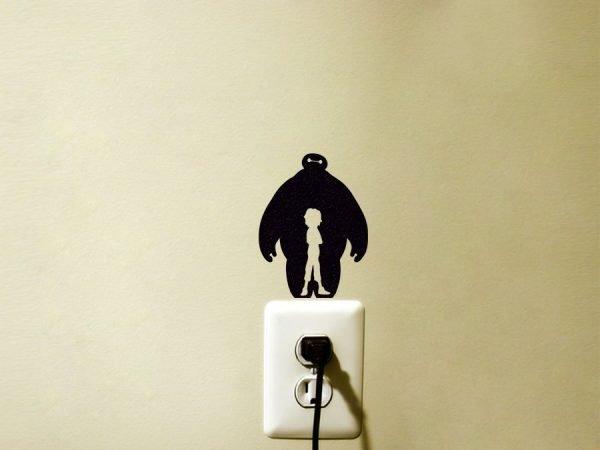 Baymax and Hiro light switch sticker