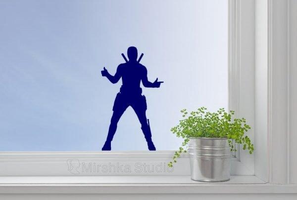 Deadpool blue window decor
