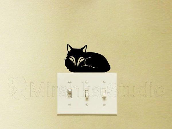 Fox wall art light switch sticker