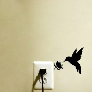 Hummingbird art light switch sticker