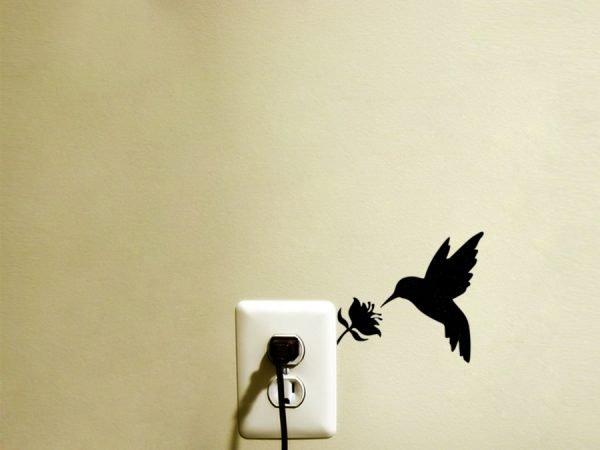 Hummingbird art light switch sticker