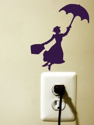 Mary Poppins flying light switch sticker