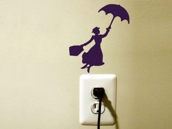 Mary Poppins flying light switch sticker