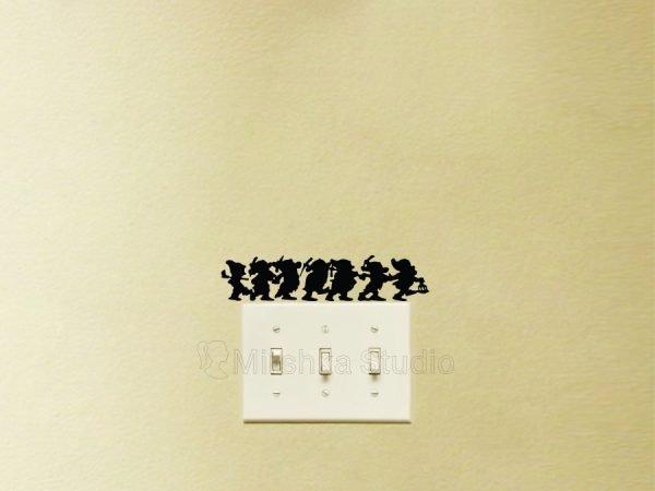 Seven Dwarfs light switch sticker