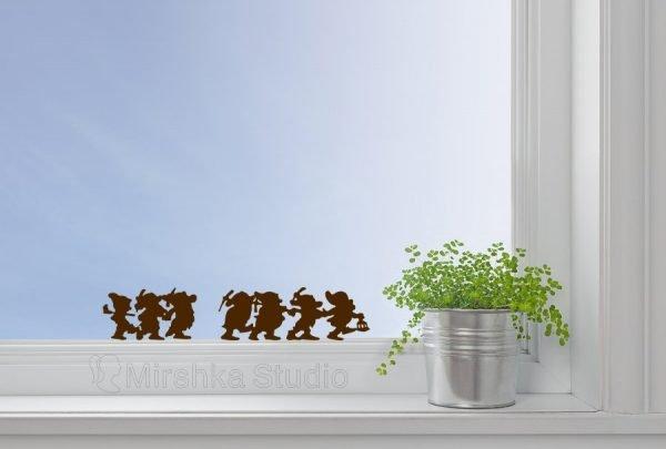 Seven Dwarfs snow white window decor