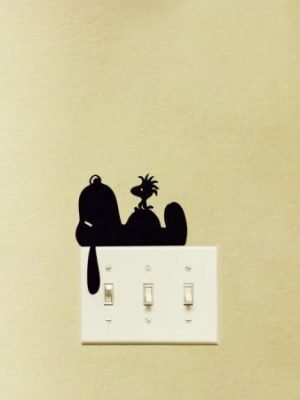 Snoopy sleeping on light switch sticker