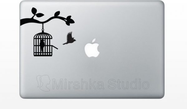 bird flying out of cage macbook decal