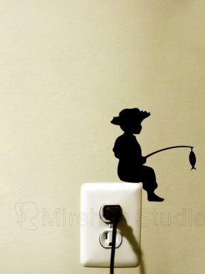 boy fishing wall sticker