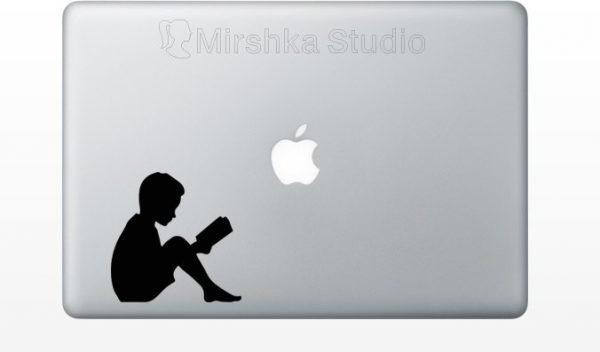 boy read a book mac decal