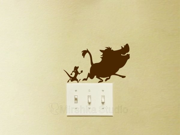 brown lion king light switch decal