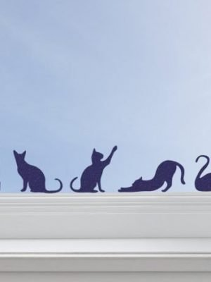 cat stickers window decor
