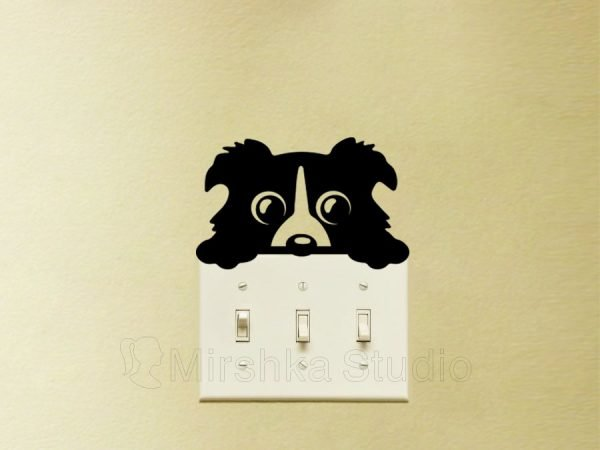 cute dog light switch decal
