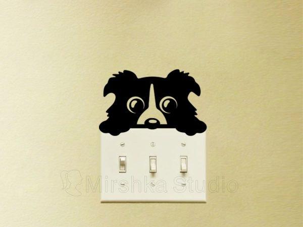 cute dog light switch decal