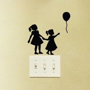 family wall sticker of two sisters holding hands