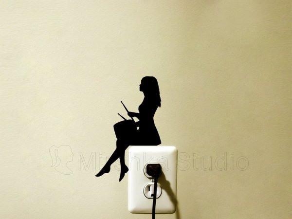 girl drummer wall sticker