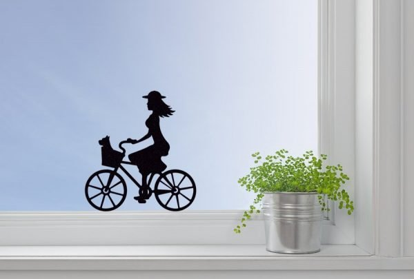 girl on a bike window decal