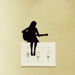 girl playing guitar sticker