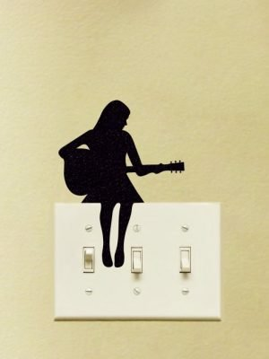 girl playing guitar sticker
