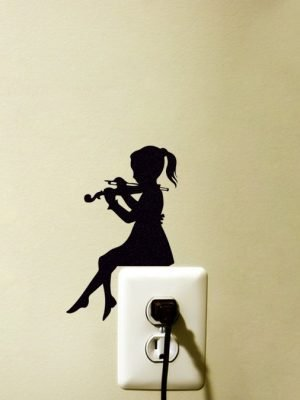 girl playing violin light switch decal