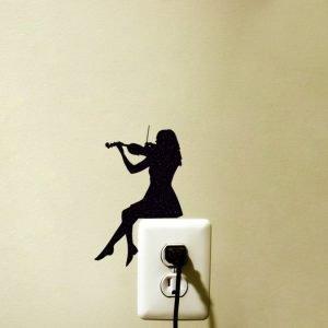 girl playing violin sticker