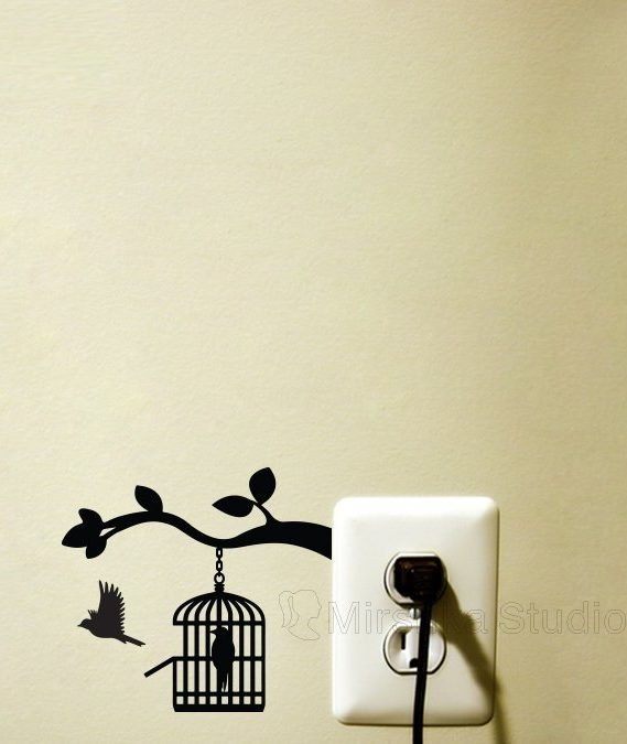 inspirational wall decals of love bird flying out of cage