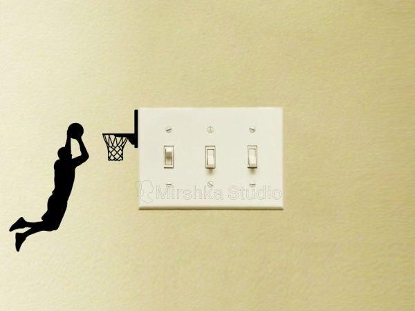 light switch sticker basketball player