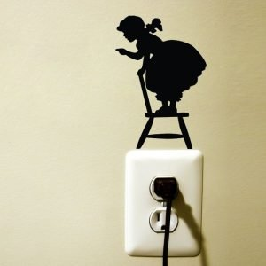 little girl on chair silhouette sticker