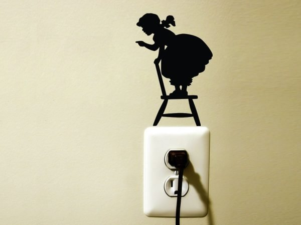 little girl on chair silhouette sticker