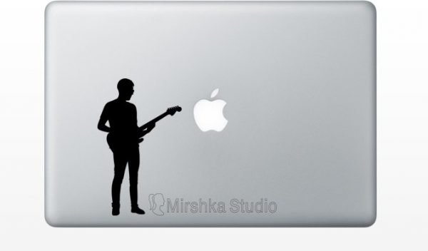 man playing electric guitar mcbook decal