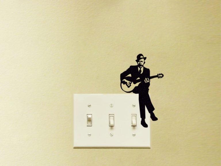 man playing guitar decal