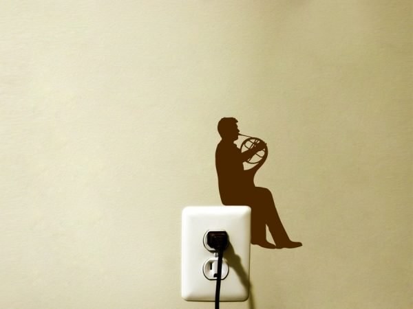 man playing horn decal