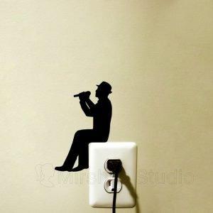 musician decor light switch fabric sticker