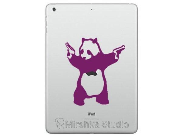 panda with guns ipad decal