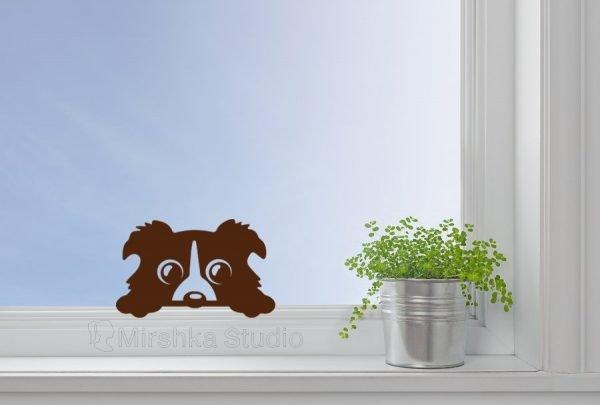peeking dog window sticker