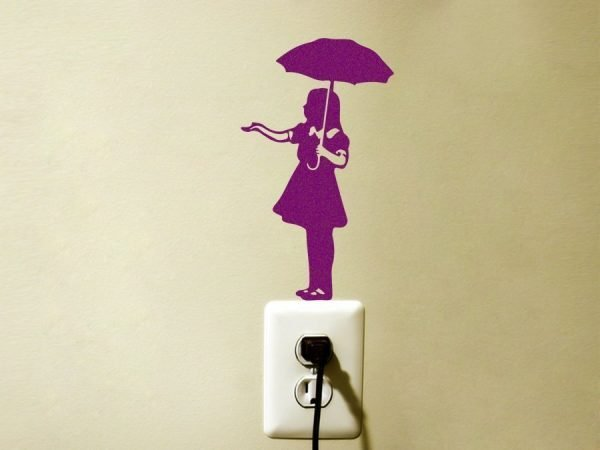 purple Banksy Umbrella Girl wall decal