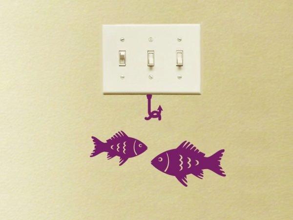 purple fishes decor