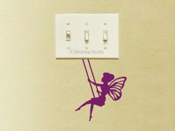 purple tinkerbelle light switch sticker