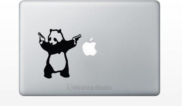 shooting panda fabric decal