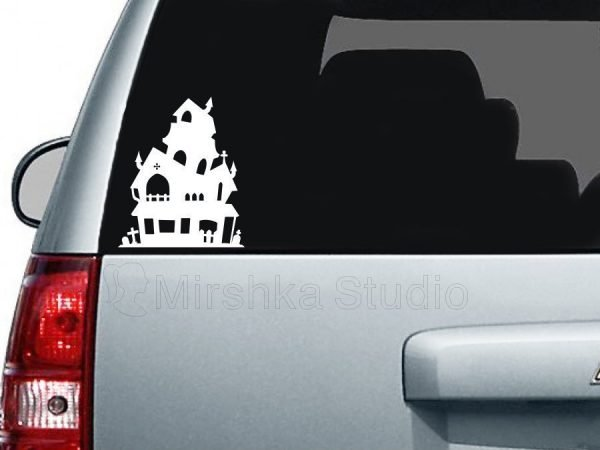 spooky mansion car decal
