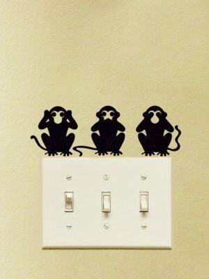 three wise monkeys stickers