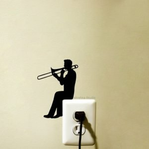 trombone player light switch sticker