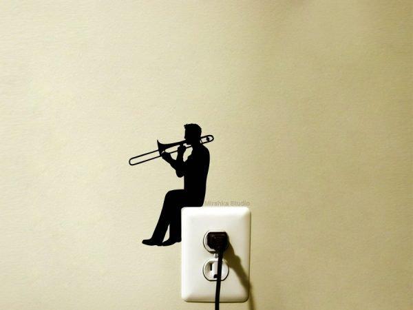 trombone player light switch sticker
