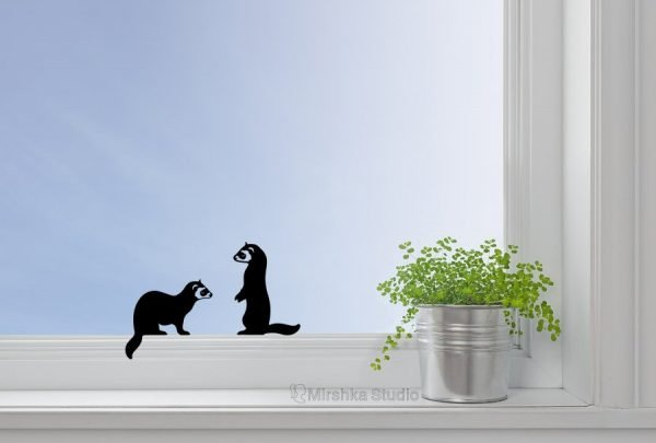 two ferrets window decal